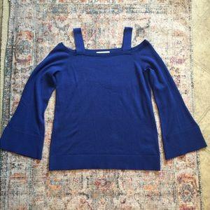 Michael Kors Blue Off Shoulder Sweater Size L